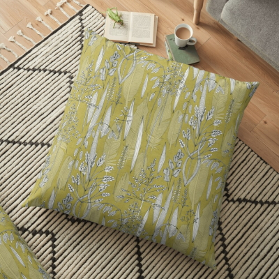 meadow feather gold redbubble floor pillow sharon turner