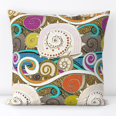 seashells pop spoonflower throw pillow sharon turner scrummy
