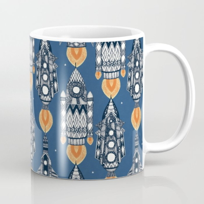 space rockets navy society6 coffee mug sharon turner