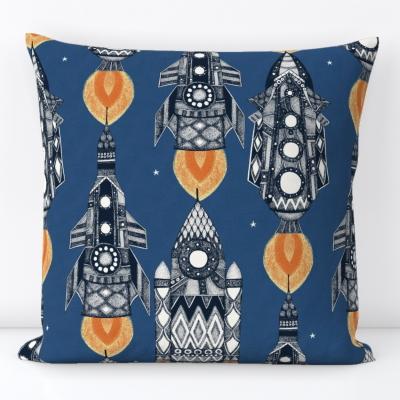 space rockets navy spoonflower scrummy sharon turner throw pillow