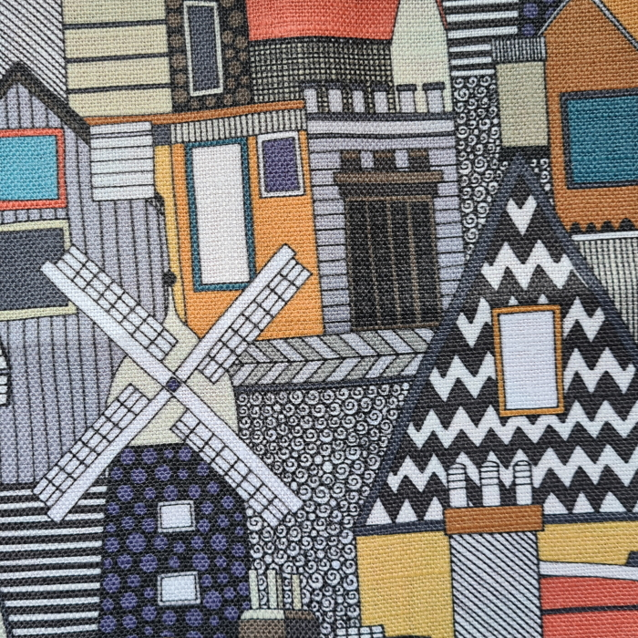 windmill and rooftops gold small begian linen sharon turner scrummy