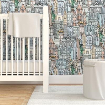 New York watercolor wallpaper spoonflower etsy sharon turner scrummy