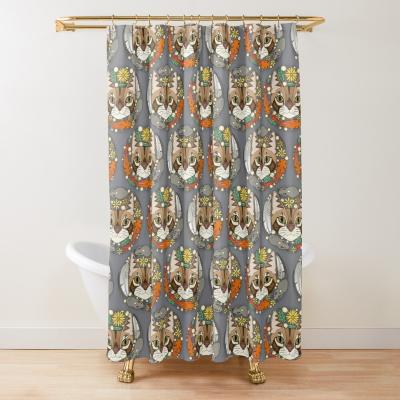 a cat's life polka iron redbubble shower curtain sharon turner