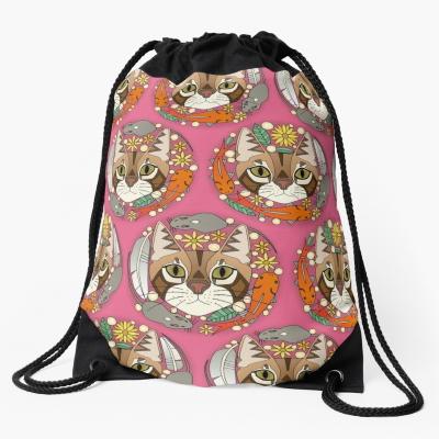 a cat's life polka pink redbubble drawstring bag sharon turner