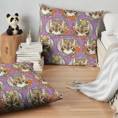 a cat's life polka violet redbubble floor pillow sharon turner