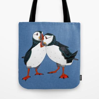 puffin pair blue society6 tote bag sharon turner