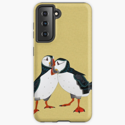 puffin pair gold redbubble samsung case sharon turner