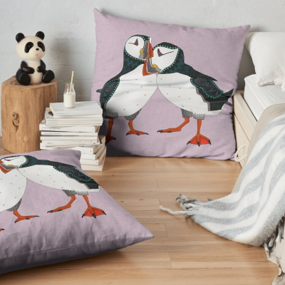 puffin pair lilac redbubble floor pillow