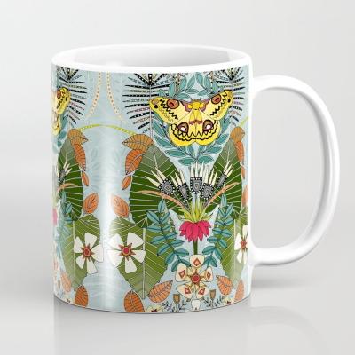 tropical moth paradise celadon blue society6 coffee mug sharon turner