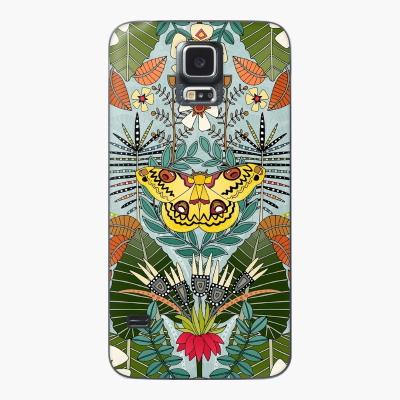 tropical moth paradise celadon blue redbubble Samsung Galaxy case and skin sharon turner