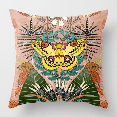 tropical moth paradise peach society6 throw pillow cushion sharon turner