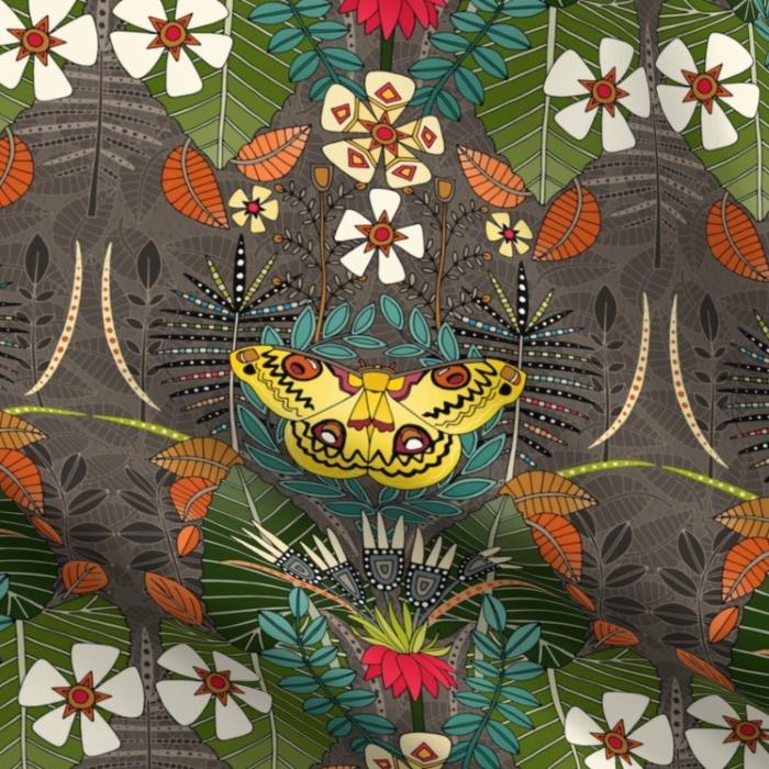 tropical moth paradise sandalwood sharon turner scrummy spoonflower
