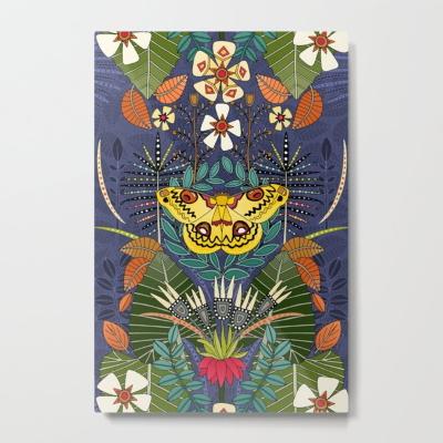 tropical moth paradise twilight metal art print sharon turner society6