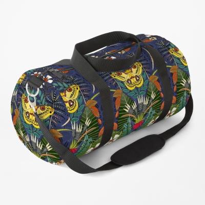tropical moth paradise twilight redbubble duffle bag sharon turner