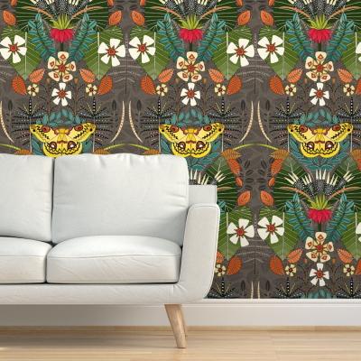tropical moth paradise sandalwood spoonflower wallpaper sharon turner scrummy