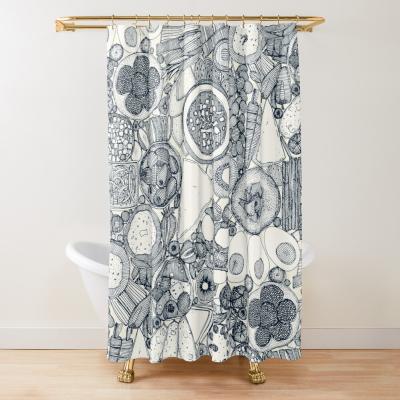 vegetarian party platter indigo redbubble shower curtain sharon turner
