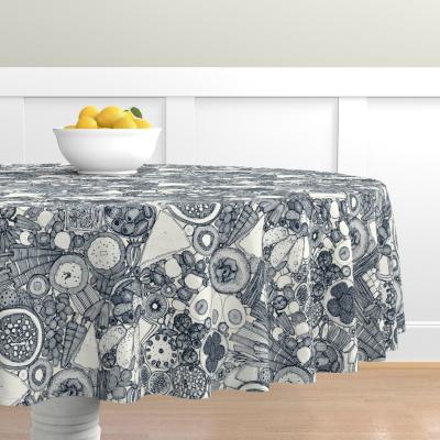 vegetarian party platter indigo spoonflower round tablecloth sharon turner
