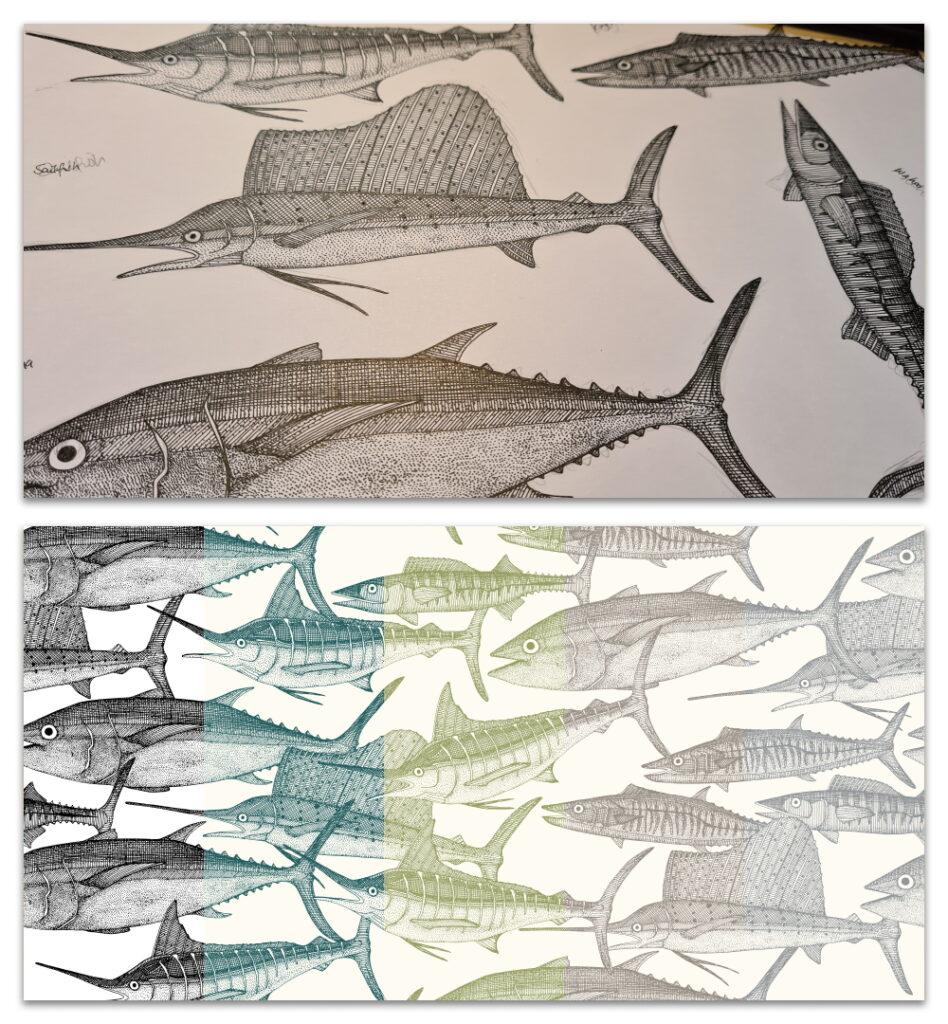 Atlantic fish work in progress and design crops sharon turner scrummy spoonflower
