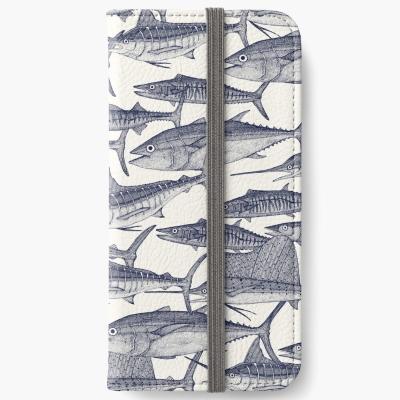 Atlantic fish blue redbubble iPhone wallet sharon turner