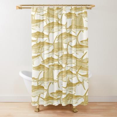 Atlantic fish gold shower curtain sharon turner