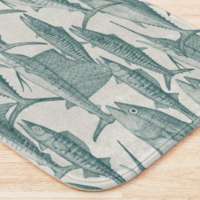 Atlaantic fish teal redbubble bath mat sharon turner