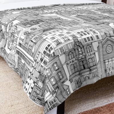 Raleigh NC toile black white redbubble bed comforter sharon turner