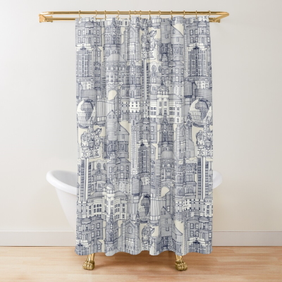 Raleigh NC toile blue redbubble shower curtain sharon turner