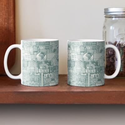Raleigh NC toile jade redbubble coffee mug sharon turner