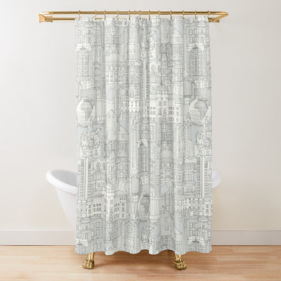 Raleigh NC toile silver redbubble shower curtain sharon turner