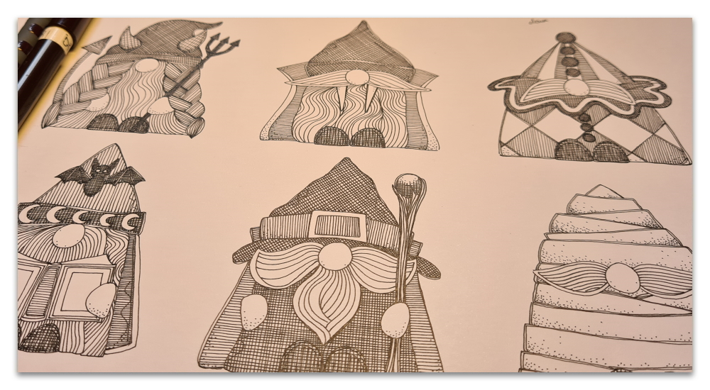work in progress WIP halloween gnomes sharon turner illustration