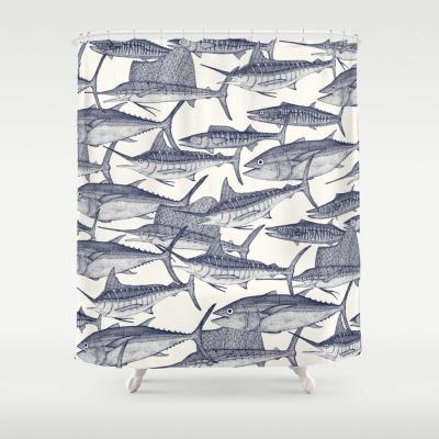 Atlantic fish blue society6 shower curtain sharon turner