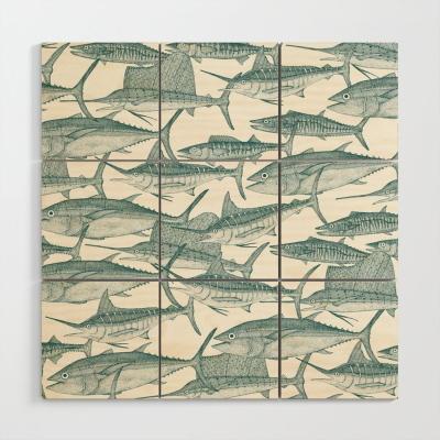Atlantic fish jade society6 wood wall art sharon turner
