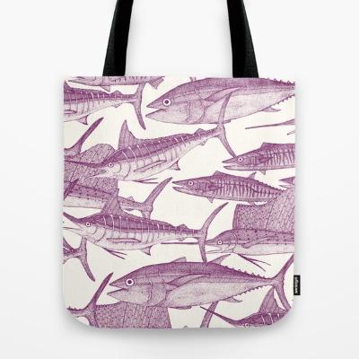 Atlantic fish purple society6 tote bag sharon turner
