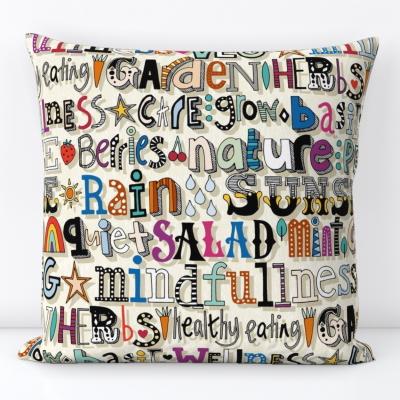 garden therapy spoonflower throw pillow cushion sharon turner scrummy