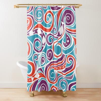 water joy fish blue redbubble shower curtain sharon turner