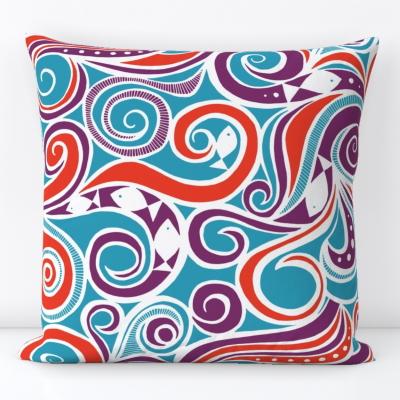 water joy fish blue spoonflower throw pillow cushion sharon turner scrummy