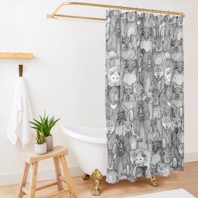 North Carolina black white redbubble shower curtain sharon turner