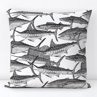 atlantic fish black white spoonflower throw pillow cushion sharon turner