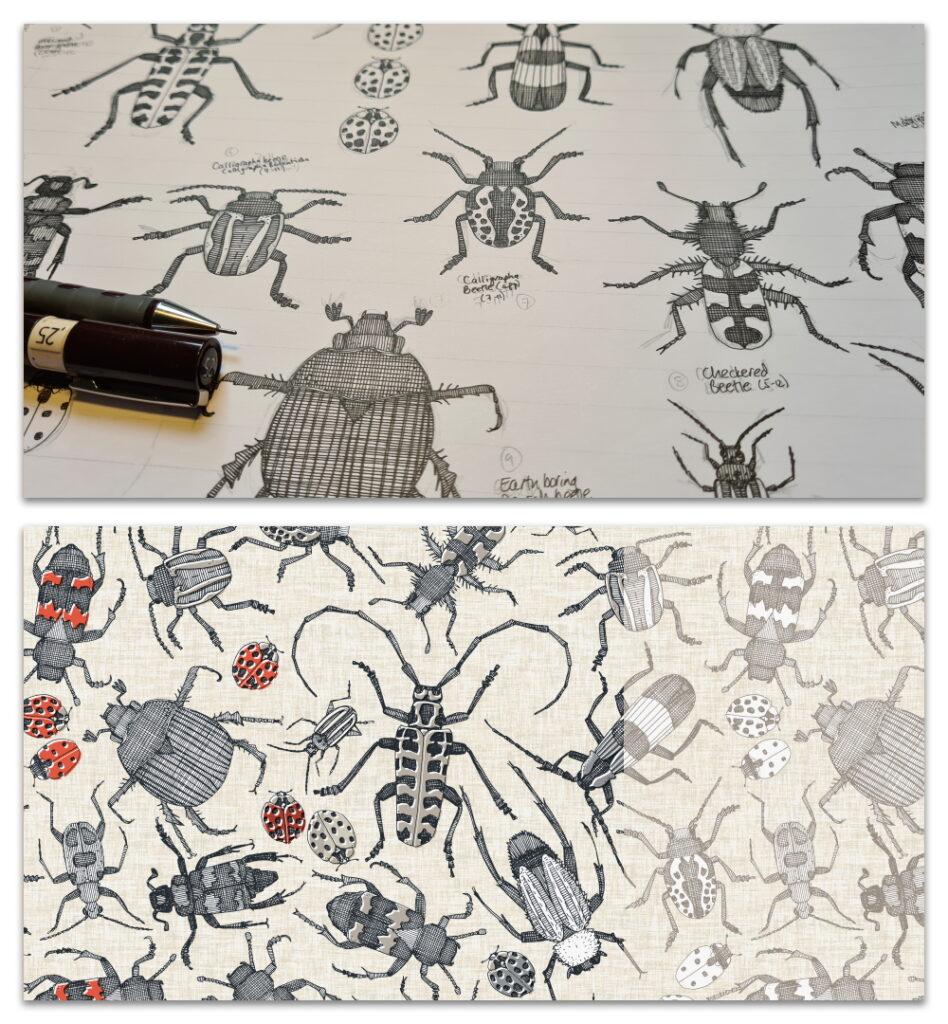 beetles work in progress WIP and design crops sharon turner spoonflower scrummy