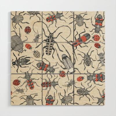beetles retro society6 wood wall art sharon turner