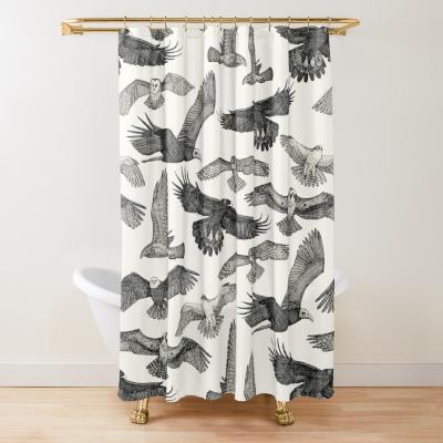 birds of prey black redbubble shower curtain sharon turner