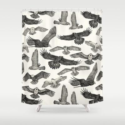 birds of prey black society6 shower curtain sharon turner