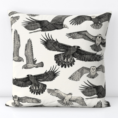 birds of prey black spoonflower throw pillow sharon turner