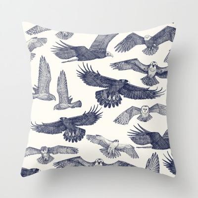 birds of prey blue society6 throw pillow cushion sharon turner