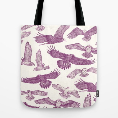 birds of prey purple society6 tote bag sharon turner