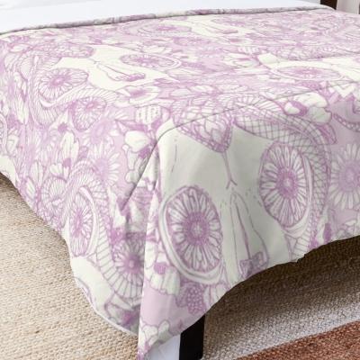 cat skull damask pastel pink redbubble bed comforter sharon turner