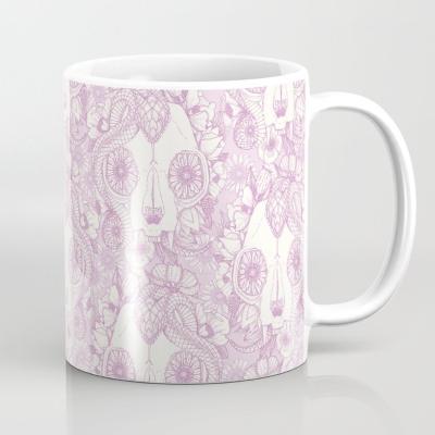 cat skull damask pastel pink society6 mug sharon turner