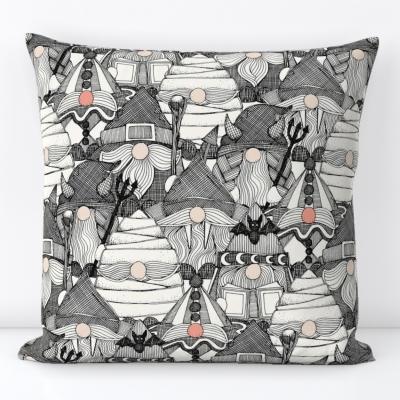 halloween gnomes black spoonflower throw pillow cushion sharon turner scrummy