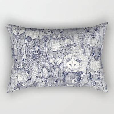 north carolina mammals blue rectangular throw pillow cushion sharon turner