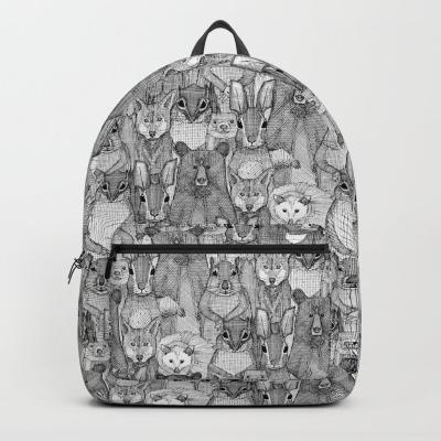 north carolina mammals black white society6 backpack sharon turner